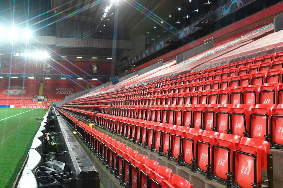 <p>Empty: Anfield</p> (POOL/AFP via Getty Images)
