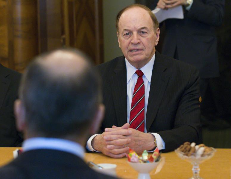 Russian Foreign Minister Sergey Lavrov back to a camera listens to U.S. Sen. Richard Shelby R-Ala. right during his meeting with U.S. congressional delegation in Moscow Russia Tuesday