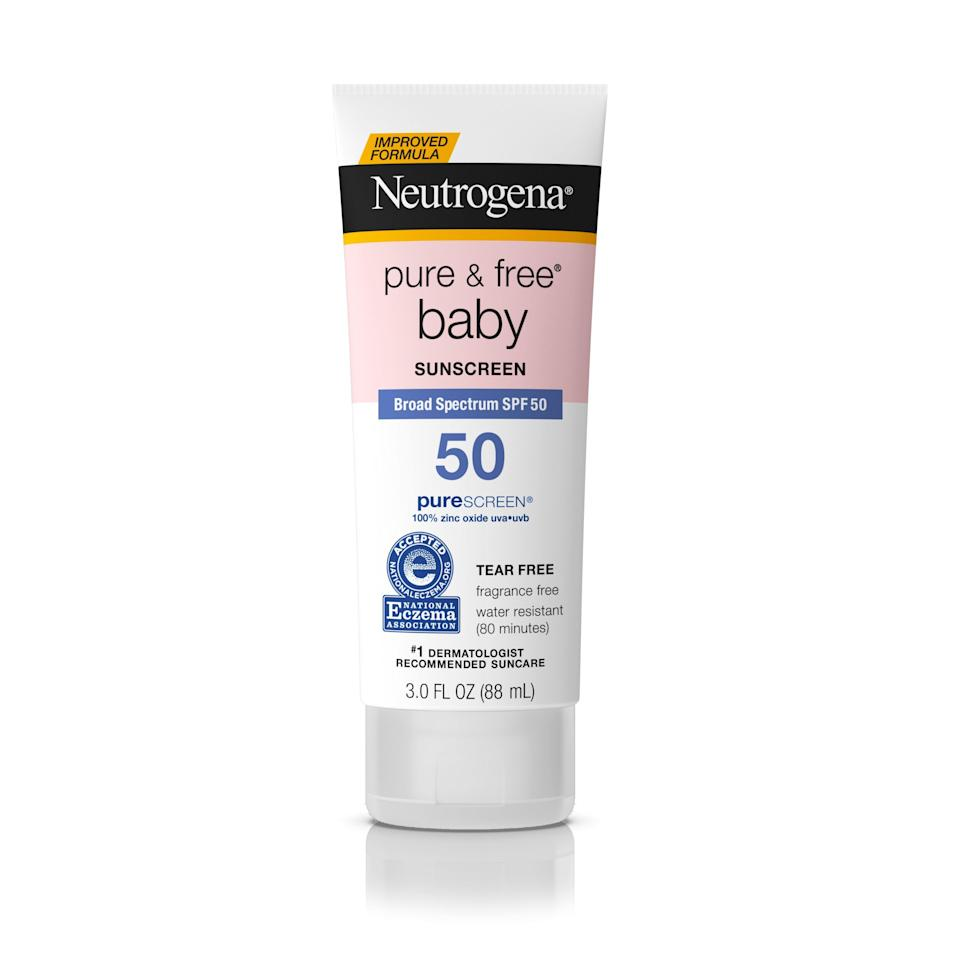 """<p><strong>Neutrogena</strong></p><p>walmart.com</p><p><strong>$10.97</strong></p><p><a href=""""https://go.redirectingat.com?id=74968X1596630&url=https%3A%2F%2Fwww.walmart.com%2Fip%2F100366602&sref=https%3A%2F%2Fwww.oprahdaily.com%2Fbeauty%2Fskin-makeup%2Fg27367862%2Fbest-sunscreen-for-kids%2F"""" rel=""""nofollow noopener"""" target=""""_blank"""" data-ylk=""""slk:Shop Now"""" class=""""link rapid-noclick-resp"""">Shop Now</a></p><p>""""It's safe to apply sunscreen once babies are six months old,"""" says board-certified dermatologist <a href=""""http://www.stayskinsafe.com/"""" rel=""""nofollow noopener"""" target=""""_blank"""" data-ylk=""""slk:Dr. Tsippora Shainhouse"""" class=""""link rapid-noclick-resp"""">Dr. Tsippora Shainhouse</a>. And this is a great starter sunscreen: The 100 percent zinc and fragrance-free formula is delicate on sensitive skin, says board-certified dermatologist <a href=""""http://riderminstitute.com/"""" rel=""""nofollow noopener"""" target=""""_blank"""" data-ylk=""""slk:Dr. Caroline Chang"""" class=""""link rapid-noclick-resp"""">Dr. Caroline Chang</a>. Plus, it's formulated to be tear free—making application a breeze.</p>"""