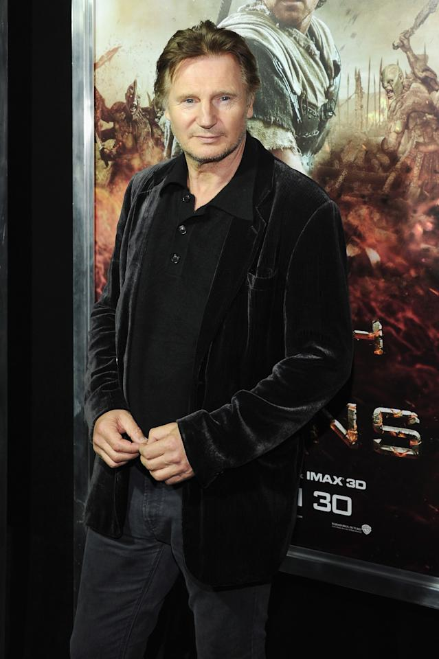 """NEW YORK, NY - MARCH 26:  Actor Liam Neeson attends the """"Wrath of the Titans"""" premiere at the AMC Lincoln Square Theater on March 26, 2012 in New York City.  (Photo by Larry Busacca/Getty Images)"""