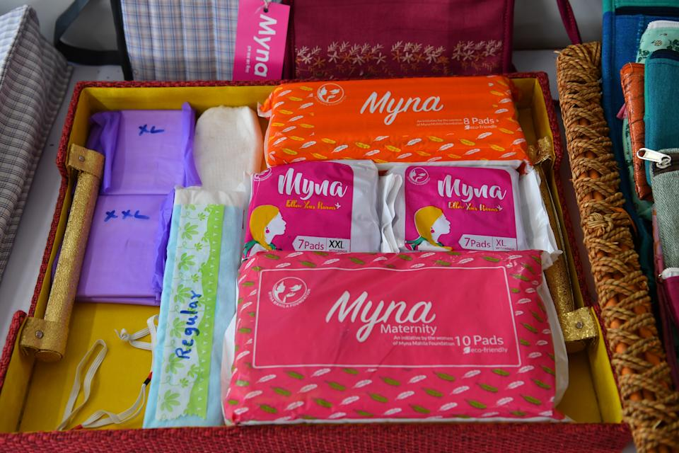 Sanitary pads prepared by the Myna Mahila Foundation are displayed at their office in the Indian city of Mumbai. The Indian charity championing menstrual hygiene was over the moon at being chosen as one of seven organisations to benefit from Prince Harry and Meghan Markle's wedding. The couple asked wedding guests to donate to charity rather than sending wedding gifts. (Photo: INDRANIL MUKHERJEE/AFP/Getty Images)
