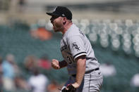 Chicago White Sox relief pitcher Liam Hendriks reacts after the last out during the ninth inning of a baseball game against the Detroit Tigers, Sunday, June 13, 2021, in Detroit. (AP Photo/Carlos Osorio)