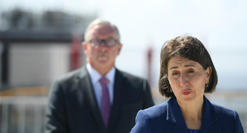 NSW Premier Gladys Berejiklian and Health Minister Brad Hazzard provide an update on the current Covid 19 situation during a media opportunity at the Prince of Wales Hospital redevelopment in Randwick, Sydney, Monday, March 15, 2021. (AAP Image/Dean Lewins) NO ARCHIVING