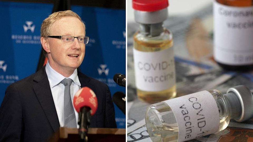 """Reserve Bank of Australia governor Philip Lowe on the left and bottles labelled """"Covid-19 vaccine"""" on the right."""