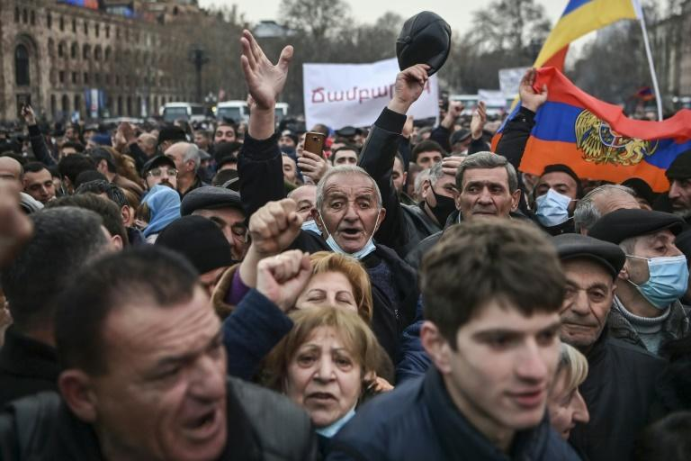 Opposition supporters demanded Pashinyan's resignation over his handling of last year's war with Azerbaijan