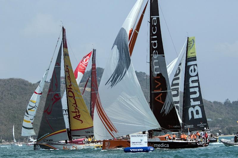 Volvo Ocean Race teams take their boats out during an in-port race in Sanya on Hainan Island on February 7, 2015 (AFP Photo/Vicente Miña)