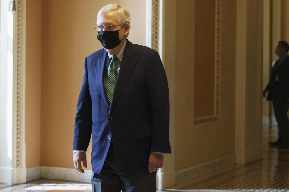 Senate Majority Leader Mitch McConnell of Ky., leaves the Senate floor, Monday, Sept. 14, 2020, on Capitol Hill in Washington. (AP Photo/Jacquelyn Martin)