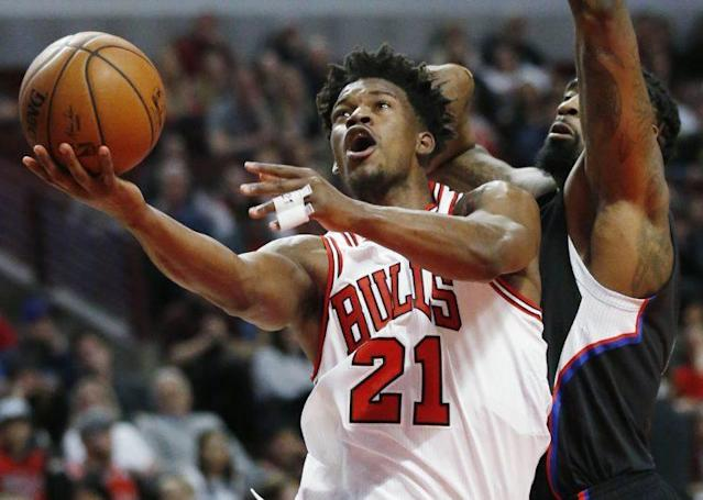 "<a class=""link rapid-noclick-resp"" href=""/nba/players/4912/"" data-ylk=""slk:Jimmy Butler"">Jimmy Butler</a> can't escape trade speculation. (AP)"