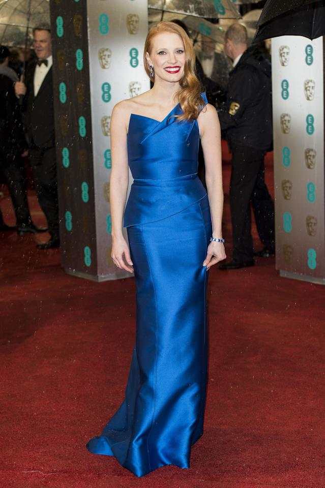 LONDON, ENGLAND - FEBRUARY 10:  Jessica Chastain attends the EE British Academy Film Awards at The Royal Opera House on February 10, 2013 in London, England.  (Photo by Mark Cuthbert/UK Press via Getty Images)
