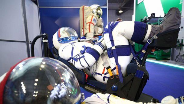 PHOTO: A new Sokol-M rescue suit for the Federation space crew on display at the MAKS 2019 International Aviation and Space Salon, in the town of Zhukovsky. (Sergei Bobylev/TASS Photo via Newscom)
