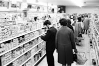 """<p>It wasn't <a href=""""https://blog.cheapism.com/grocery-stores-then-and-now/#slide=16"""" rel=""""nofollow noopener"""" target=""""_blank"""" data-ylk=""""slk:until the '80s"""" class=""""link rapid-noclick-resp"""">until the '80s</a> that people started to expect a variety of items at their grocery store — from flowers and toys to magazines and greeting cards. Before then, shoppers were only purchasing food.</p>"""