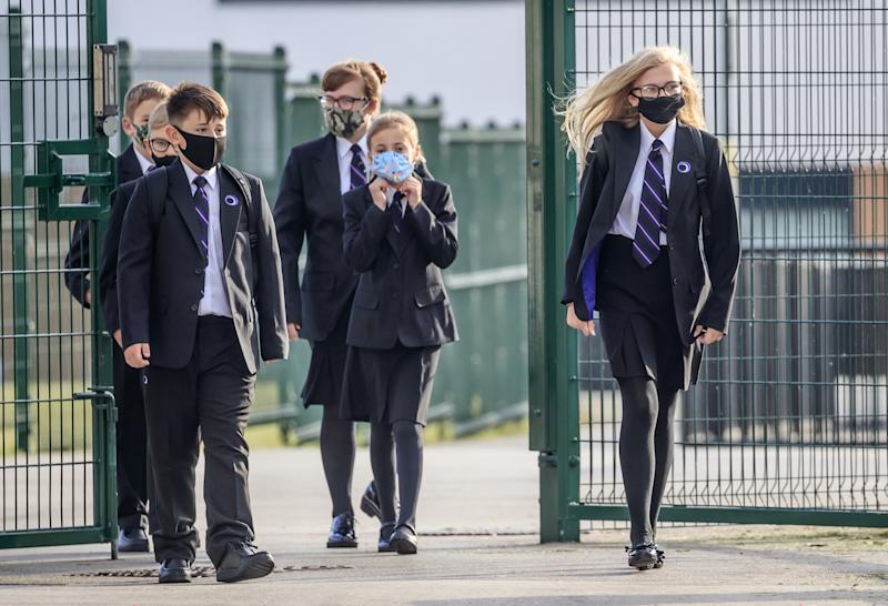Pupils wear protective face masks at Outwood Academy Adwick in Doncaster, as schools in England reopen to pupils following the coronavirus lockdown. (Photo by Danny Lawson/PA Images via Getty Images)