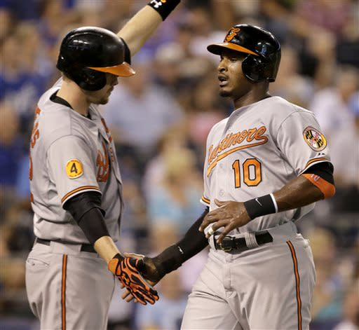 Baltimore Orioles' Adam Jones, right, celebrates with Matt Wieters, left, after Jones scored on a double by Chris Davis during the sixth inning of a baseball game against the Kansas City Royals Monday, July 22, 2013, in Kansas City, Mo. (AP Photo/Charlie Riedel)