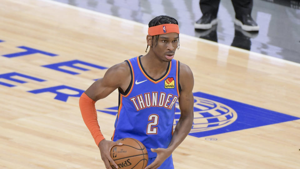 Oklahoma City Thunder guard Shai Gilgeous-Alexander (2) during the fourth quarter of an NBA basketball game against the Chicago Bulls in Chicago, Tuesday, March 16, 2021.