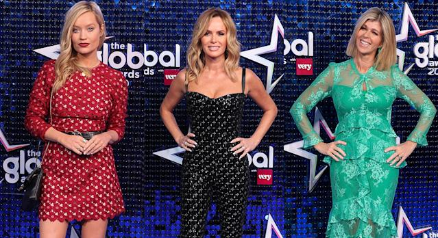 Laura Whitmore, Amanda Holden and Kate Garraway are among celebrities who attended the Global Awards 2020. (Getty mages)
