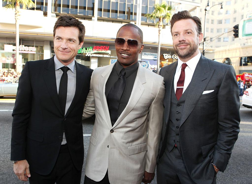 """<a href=""""http://movies.yahoo.com/movie/contributor/1800019148"""">Jason Bateman</a>, <a href=""""http://movies.yahoo.com/movie/contributor/1800020004"""">Jamie Foxx</a> and <a href=""""http://movies.yahoo.com/movie/contributor/1809724956"""">Jason Sudeikis</a> at the Los Angeles premiere of <a href=""""http://movies.yahoo.com/movie/1810161382/info"""">Horrible Bosses</a> on June 30, 2011."""