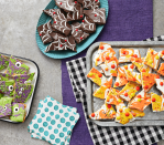 """<p>Halloween is almost here...and you know what that means: costumes, movies, crafts, and <em>all </em>of the <a href=""""https://www.thepioneerwoman.com/news-entertainment/a34291351/best-halloween-candy-quiz/"""" rel=""""nofollow noopener"""" target=""""_blank"""" data-ylk=""""slk:Halloween candy"""" class=""""link rapid-noclick-resp"""">Halloween candy</a>! Of course, those of you who are avid at-home bakers—like Ree Drummond!–know that the last week of October isn't just about Reese's and M&Ms. With just a few pantry staples, some elbow grease, and a bit of imagination, the possibilities for innovative, delicious Halloween desserts are endless. </p><p>Here, you'll find the best of the best Halloween dessert recipes to help you on your quest to put the """"treat"""" in """"trick-or-treat."""" Whether you're interested in whipping up a batch scrumptious <a href=""""https://www.thepioneerwoman.com/food-cooking/meals-menus/g33565118/pumpkin-dessert-recipes/"""" rel=""""nofollow noopener"""" target=""""_blank"""" data-ylk=""""slk:pumpkin desserts"""" class=""""link rapid-noclick-resp"""">pumpkin desserts</a> for Halloween night, or you're just looking for a fun Sunday afternoon activity to do with your kids, there's bound to be at least one festive recipe on this list that'll fit the bill. In fact, many of the recipes on this list are so easy, you can make them with whatever you've already got in the house (hello, candy-filled Halloween bark!). You can even make your own <a href=""""https://www.thepioneerwoman.com/food-cooking/recipes/a78588/how-to-make-pumpkin-pie-spice/"""" rel=""""nofollow noopener"""" target=""""_blank"""" data-ylk=""""slk:pumpkin pie spice"""" class=""""link rapid-noclick-resp"""">pumpkin pie spice</a> and <a href=""""https://www.thepioneerwoman.com/food-cooking/recipes/a11184/make-your-own-pumpkin-puree/"""" rel=""""nofollow noopener"""" target=""""_blank"""" data-ylk=""""slk:pumpkin puree"""" class=""""link rapid-noclick-resp"""">pumpkin puree</a> for your treats. Even more exciting, most of these picks double as creepy-crawly table décor—meaning you can spruce up your home"""