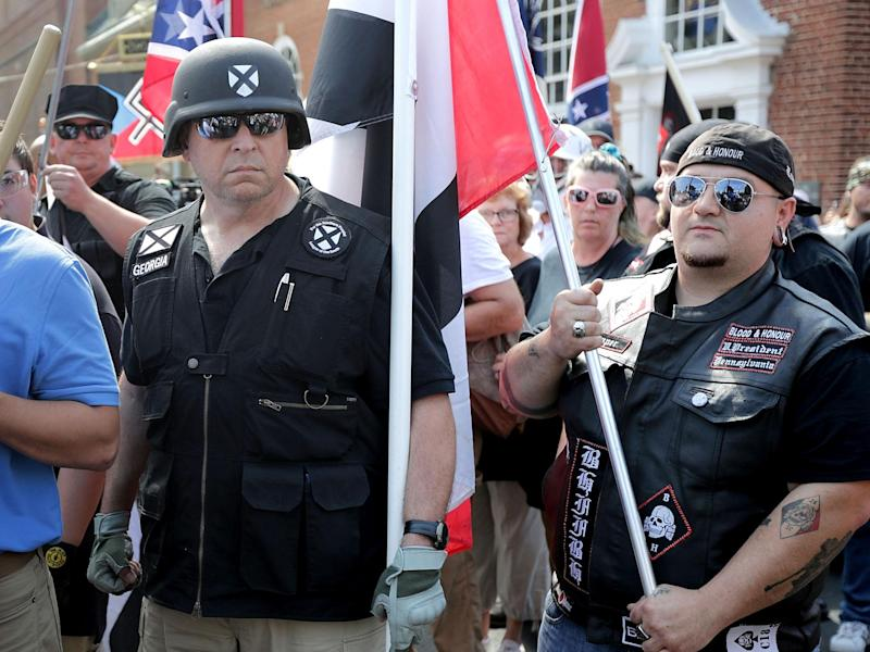 Hundreds of white nationalists, neo-Nazis and members of the alt-right marched during the