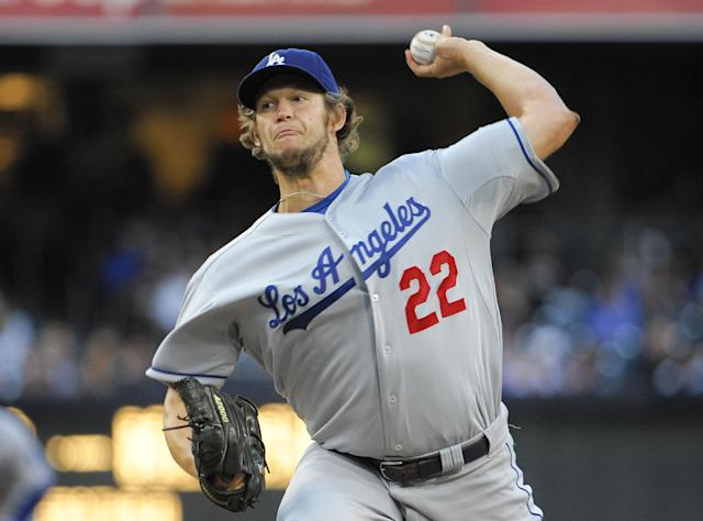 SAN DIEGO, CA - SEPTEMBER 21: Clayton Kershaw #22 of the Los Angeles Dodgers pitches during the second inning of a baseball game against the San Diego Padres at Petco Park on September 21, 2013 in San Diego, California. (Photo by Denis Poroy/Getty Images)