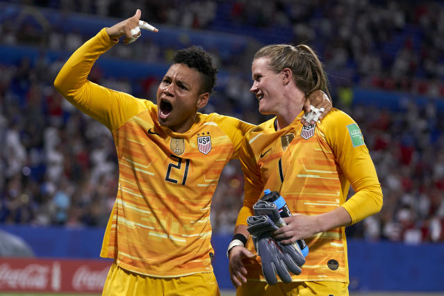 Adrianna Franch of USA celebrates the performance of her team mate Alyssa Naeher of USA during the 2019 FIFA Women's World Cup France Semi Final match between England and USA at Stade de Lyon on July 02, 2019 in Lyon, France. (Photo by Quality Sport Images/Getty Images)