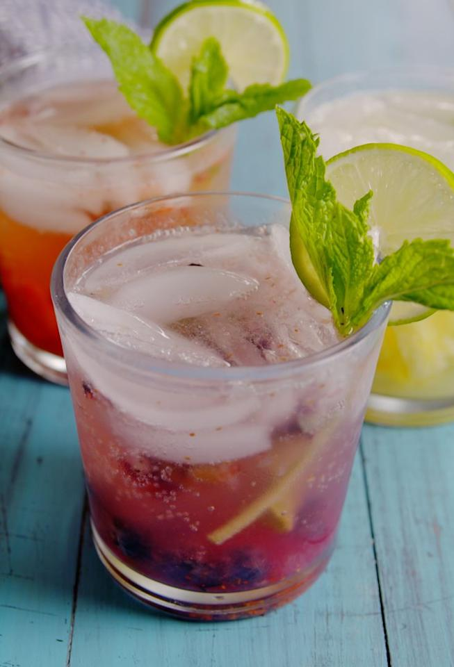 """<p>You're going to want to make these every weekend (and weekday, let's be honest).</p><p>Get the recipe from <a rel=""""nofollow"""" href=""""https://www.delish.com/cooking/recipes/a53357/blueberry-pineapple-strawberry-mojito-recipes/"""">Delish</a>.</p>"""