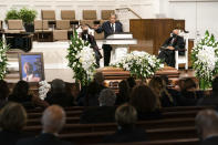 """Andrew Young, former ambassador to the United Nations, speaks during the funeral services for Henry """"Hank"""" Aaron, longtime Atlanta Braves player and Hall of Famer, on Wednesday, Jan. 27, 2021 at Friendship Baptist Church in Atlanta. (Kevin D. Liles/Atlanta Braves via AP, Pool)"""