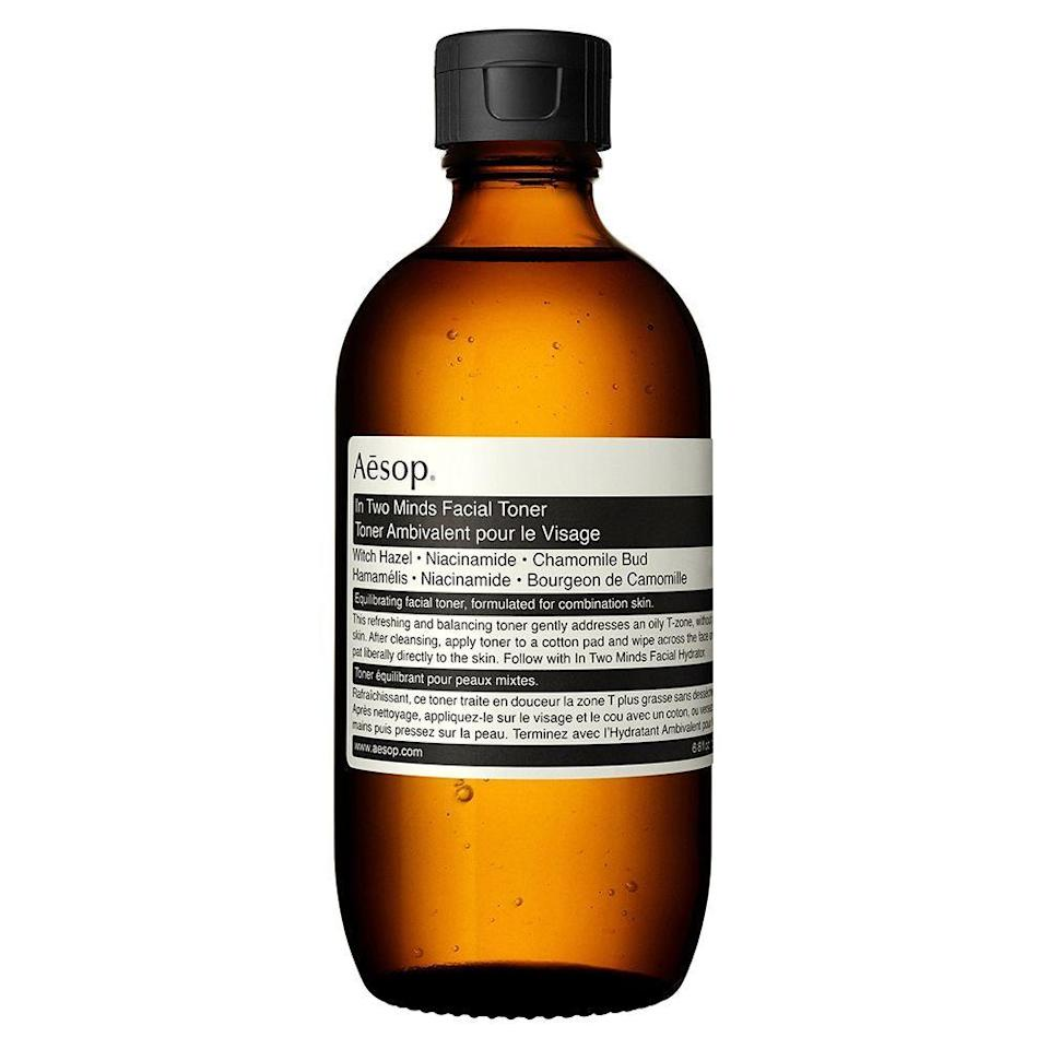 """<p><strong>AESOP</strong></p><p>nordstrom.com</p><p><strong>$53.00</strong></p><p><a href=""""https://go.redirectingat.com?id=74968X1596630&url=https%3A%2F%2Fshop.nordstrom.com%2Fs%2Faesop-in-two-minds-facial-toner%2F4974754&sref=https%3A%2F%2Fwww.bestproducts.com%2Fbeauty%2Fg249%2Ffacial-toners-for-every-skin-type%2F"""" rel=""""nofollow noopener"""" target=""""_blank"""" data-ylk=""""slk:Shop Now"""" class=""""link rapid-noclick-resp"""">Shop Now</a></p><p>This AESOP toner may be a tad pricier, but it's worth every penny. This toner helps both oily and dry skin types with its mildly astringent formula, which is infused with witch hazel, <a href=""""https://www.bestproducts.com/beauty/a30682727/niacinamide-skin-benefits/"""" rel=""""nofollow noopener"""" target=""""_blank"""" data-ylk=""""slk:niacinamide"""" class=""""link rapid-noclick-resp"""">niacinamide</a> and chamomile. It's great for wiping away excess oil on your T-zone without drying out your pores.</p>"""
