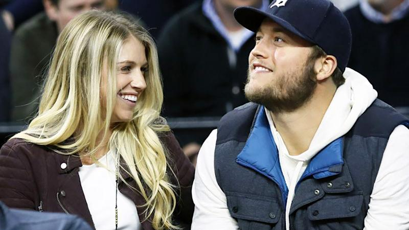 Kelly and Matthew Stafford, pictured here at an NBA game.