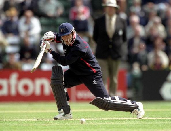 12 May 1999:  Justin Langer of Middlesex batting during a Cricket World Cup warm up match against South Africa played in Southgate, England. \ Mandatory Credit: Stu Forster /Allsport