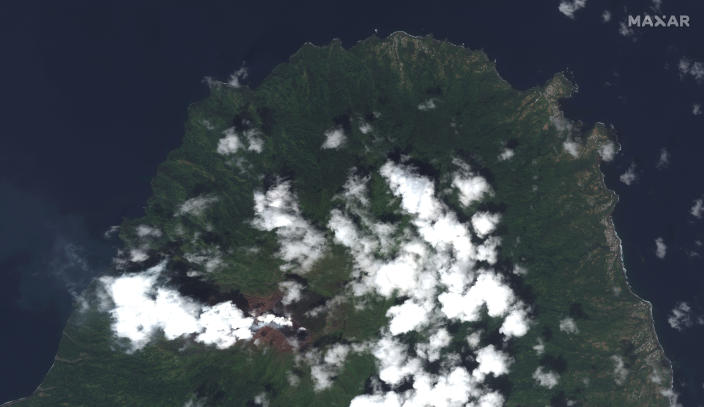 This image provided by Maxar Technologies shows La Soufriere volcano on the Caribbean island of St. Vincent, Thursday, April 8, 2021, the day before it erupted. (Satellite image ©2021 Maxar Technologies via AP)