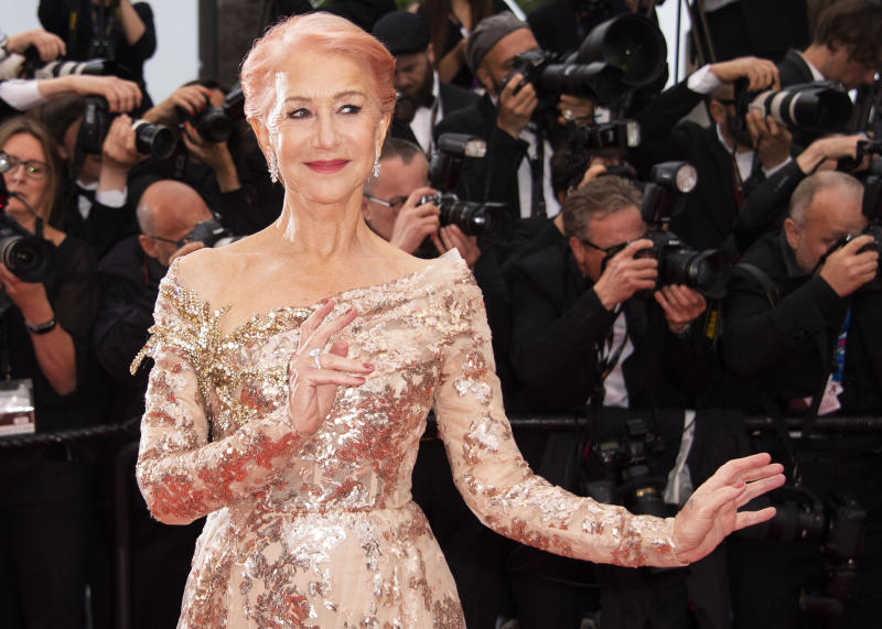 Helen Mirren poses for photographers upon arrival at the premiere of the film 'The Best Years of a Life' at the 72nd international film festival, Cannes, southern France, Saturday, May 18, 2019. (Photo by Arthur Mola/Invision/AP)
