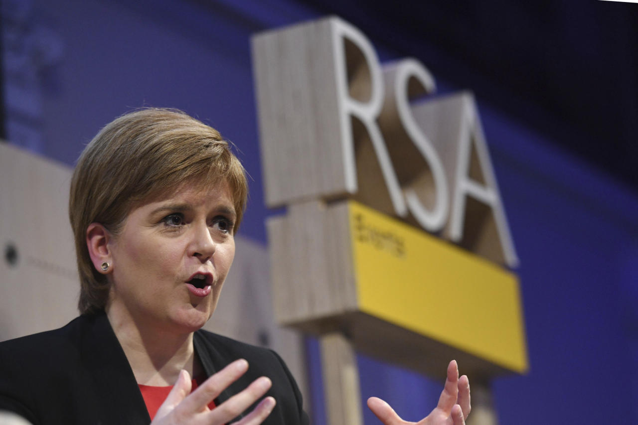 Scotland's First Minister Nicola Sturgeon speaks at the Royal Society of Arts in London, Monday, Oct. 15, 2018. Sturgeon plans to set out an alternative to the Brexit choices outlined by Britain's Prime Minister Theresa May. (Stefan Rousseau/Pool Photo via AP)