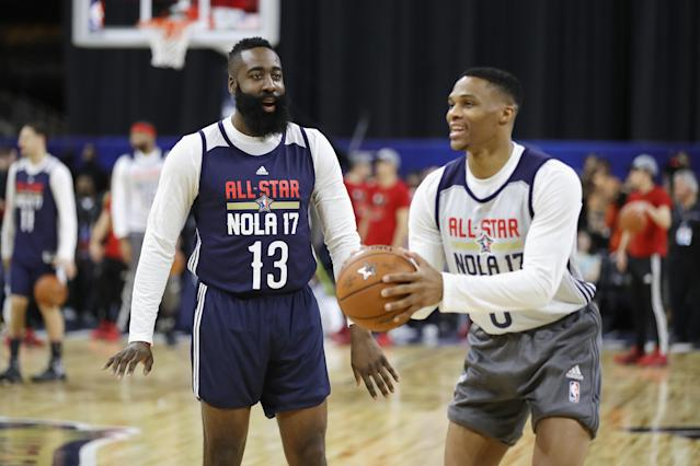 """Despite them being two of the best offensive players in the league, James Harden isn't worried about teaming up with <a class=""""link rapid-noclick-resp"""" href=""""/nba/players/4390/"""" data-ylk=""""slk:Russell Westbrook"""">Russell Westbrook</a> this season. (Ronald Martinez/Getty Images)"""