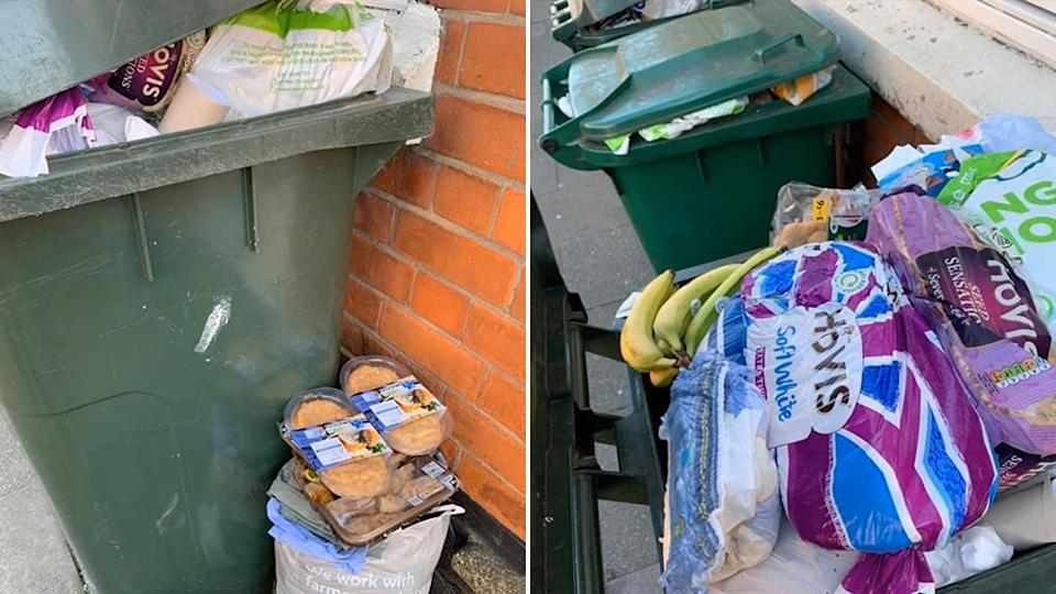 Photos emerged online of discarded food, causing outrage online. Source: Twitter
