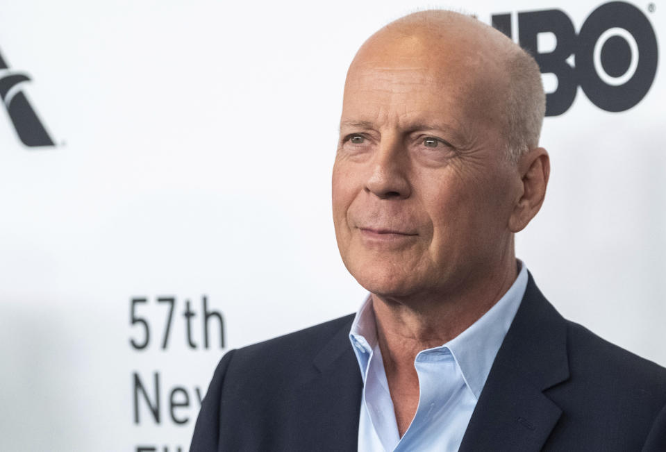 "Bruce Willis attends the ""Motherless Brooklyn"" premiere during the 57th New York Film Festival at Alice Tully Hall on Friday, Oct. 11, 2019, in New York. (Photo by Charles Sykes/Invision/AP)"