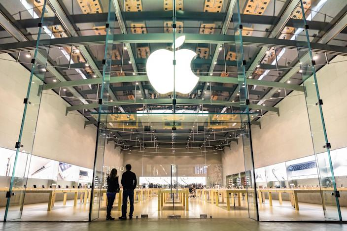 Apple store in Santa Monica - the tech giant is expected to unveil four new handsets this autumn (Getty)