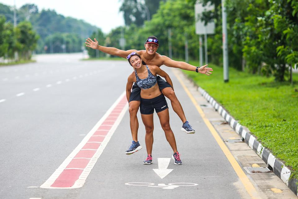 Both Arthur Tong and Elaine Young are passionate about supporting the local triathlon community. (PHOTO: Cheryl Tay)