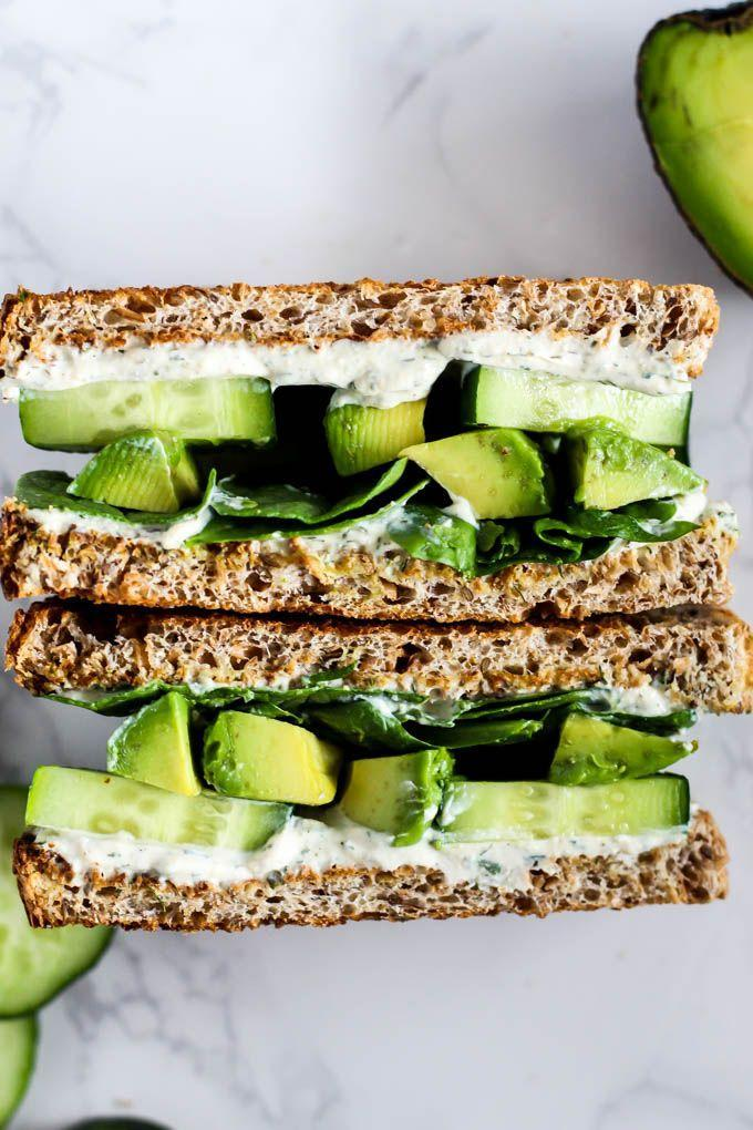"""<p>If you're looking for a light lunch, this cucumber avocado sandwich is just what you need. The combination of these two veggies creates a delicious treat that won't have you missing your basic avo toast. <br><br><a class=""""link rapid-noclick-resp"""" href=""""https://www.emilieeats.com/cool-cucumber-avocado-sandwich-tofu-cream-cheese/#tasty-recipes-5904"""" rel=""""nofollow noopener"""" target=""""_blank"""" data-ylk=""""slk:Get the recipe"""">Get the recipe</a><br><br><em>*Nutritional information not available</em></p>"""