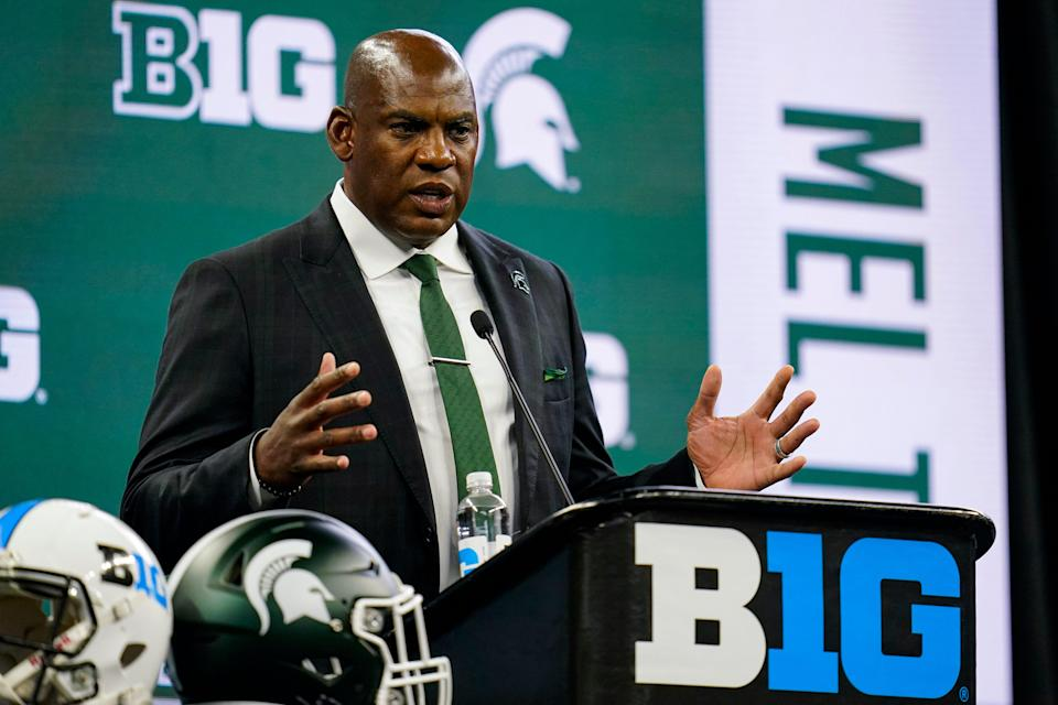 Michigan State coach Mel Tucker talks to reporters during the Big Ten media days in Indianapolis on Friday, July 23, 2021.