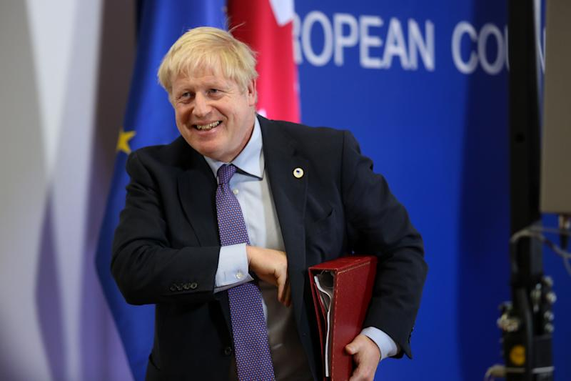 Boris Johnson, Prime Minister of the United Kingdom speaks during press conference in the Justus Lipsius building during the European Council Summit in Brussels, Belgium on October 17, 2019. The European Council meets to tackle key issues of Brexit in face of October's deadline, relations with Turkey after its military engagement in north Syria, as well as enlargement of the EU. (Photo by Dominika Zarzycka/NurPhoto via Getty Images)