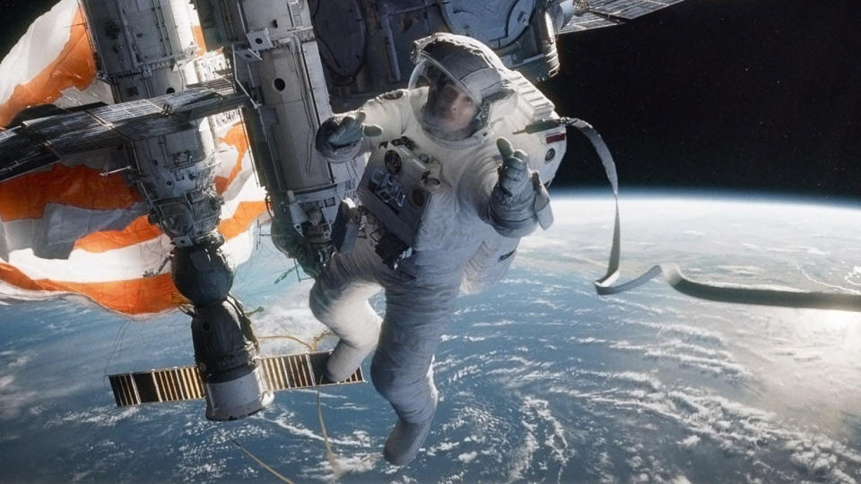 'Gravity' opens with a lengthy, unbroken sequence in outer space. (Credit: Warner Bros)