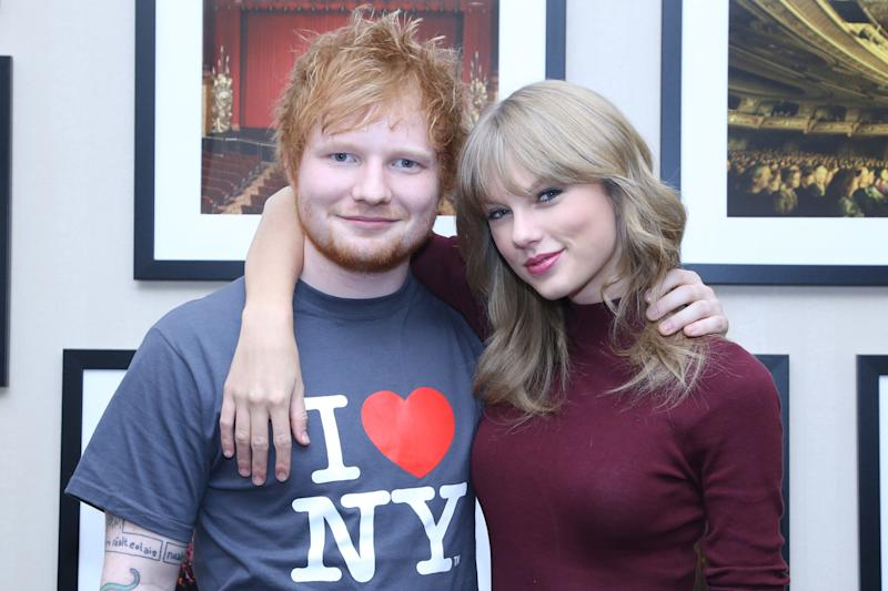 Good friends: Ed Sheeran poses with Taylor Swift: Anna Webber/Getty