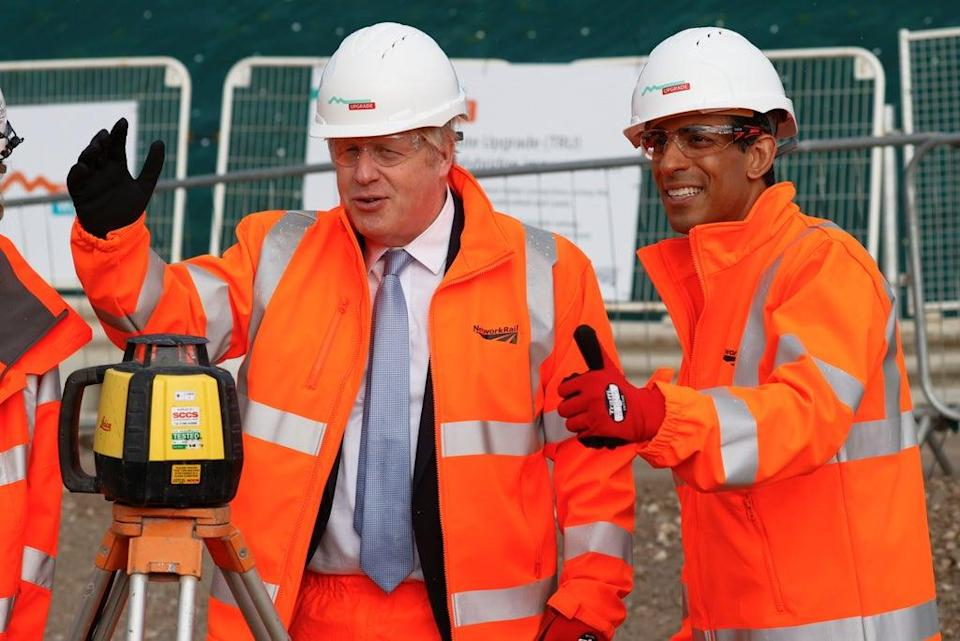 Prime Minister Boris Johnson and Chancellor Rishi Sunak during a visit to a construction site in Manchester. (Phil Noble/PA) (PA Wire)