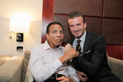 David Beckham and Muhammad Ali in 2012 (REUTERS)