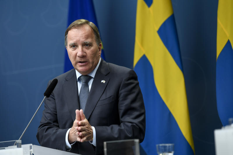 Sweden's Prime Minister Stefan Lofven gives a press conference to present the coronavirus commission launched to evaluate Sweden's coronavirus strategy on June 30, 2020 in Stockholm, Sweden. (Photo by ALI LORESTANI / various sources / AFP) / Sweden OUT (Photo by ALI LORESTANI/TT News Agency/AFP via Getty Images)