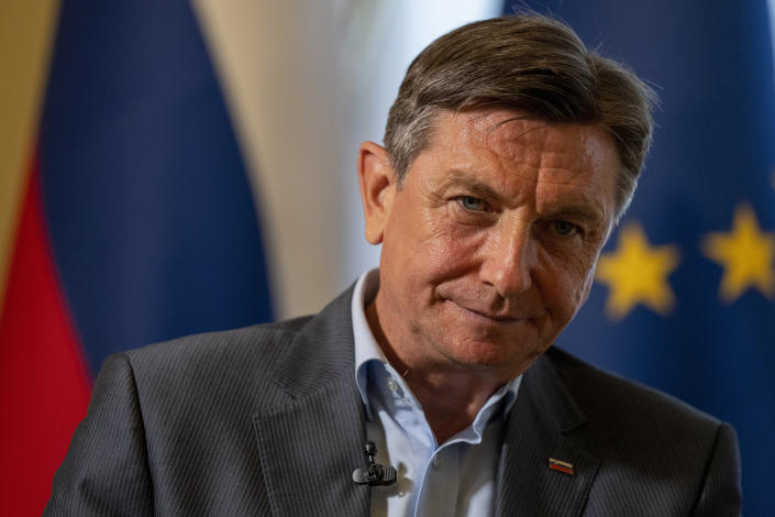 Slovenia's President Borut Pahor listens to a question during an interview with the Associated Press at his office in Ljubljana, Slovenia, Tuesday, June 29, 2021. Slovenia, which held the presidency for the first and only time so far in early 2008, takes over just as the EU prepares to start distributing its massive coronavirus recovery fund aimed at reviving European economies from the damage inflicted by restrictions imposed to contain the disease. (AP Photo/Darko Bandic)