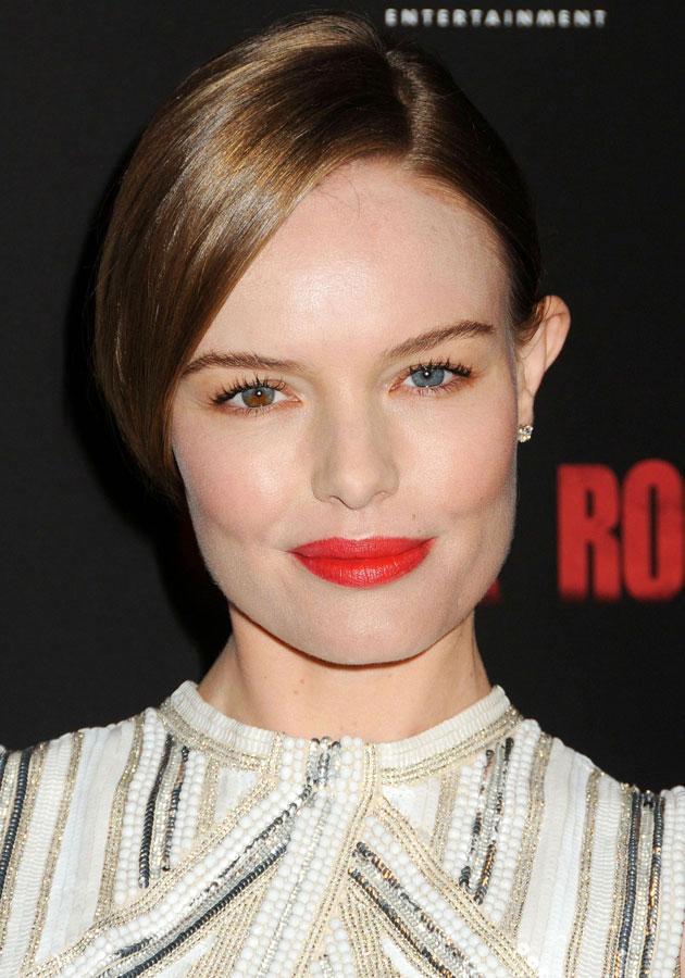 Celebrities wearing red lipstick: Kate Bosworth looked amazing with a bright pout.<br><br>[Rex]