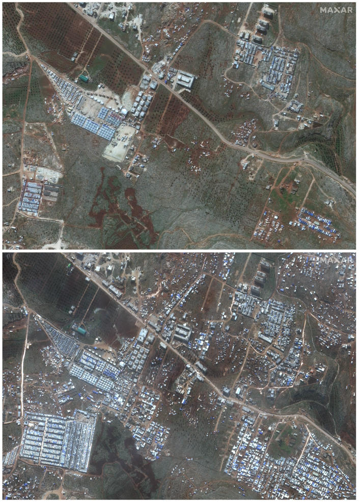 This combination of satellite images provided by Maxar Technologies shows an area near Deir Hassan in northern Syria's Idlib province near the Turkish border on Feb. 5, 2019, top, and the same area with a large number of refugee tents for internally displaced people on Feb. 16, 2020, bottom. The difference between the two images illustrates the rapid expansion of refugees as hundreds of thousands of civilians in the area are scrambling to escape a widening, multi-front offensive by Syrian President Bashar Assad's forces. (Satellite image ©2020 Maxar Technologies via AP)
