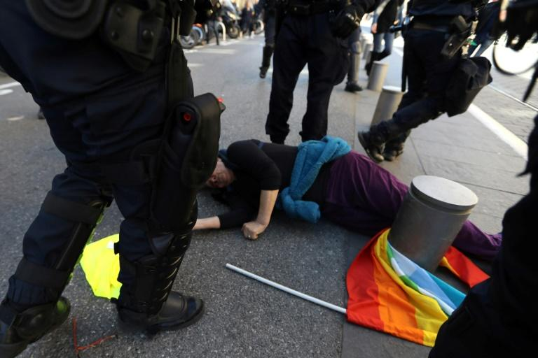 The target of the French president's latest swipe was Genevieve Legay, a 73-year-old anti-globalisation activist, who suffered a fractured skull when riot police charged anti-government demonstrators in Nice
