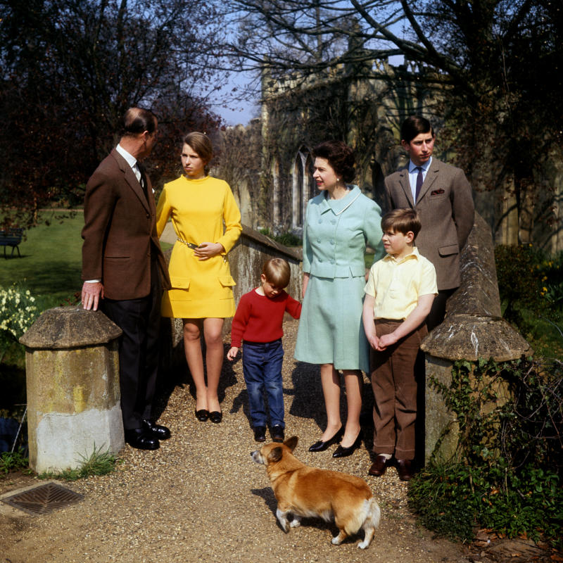 File photo dated 21/04/68 of Queen Elizabeth II, the Prince of Wales, the Earl of Wessex, the Duke of York and the Princess Royal listening to the Duke of Edinburgh on a bridge in the grounds of Frogmore, Windsor. Anne celebrates her 70th birthday on Saturday.